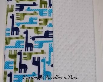 Giraffe Baby Blanket Minky/White Minky Dot/Personalized