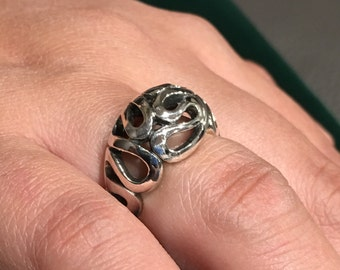 Sterling silver 925 swirl style design ring