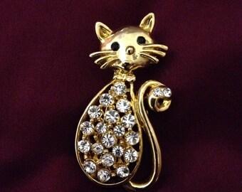 Pretty Kitty Rhinestone Pin