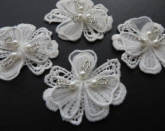 4 pcs of 3D guipure lace bridal applique motif, with beads and pearls, off white