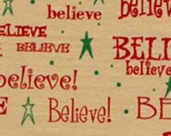 BELIEVE on Kraft Tan Christmas Tissue Paper #875 - 10 large sheets
