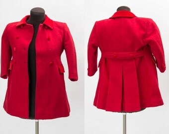 Little girl's beautiful vintage dark red wool winter coat with pockets - c. 1960s 70s coat with quilted lining estimated child's size 6 - 8