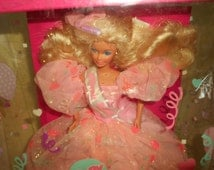 SALE! Happy Birthday Barbie/ Vintage 1990/Exquisite in Pink Satin Organza Gown!/Barbie is Mint/Box is Detroyed/Never Removed/Lots of Tape!