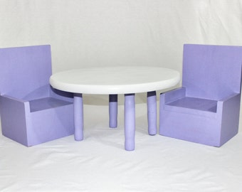 Doll Size Table and 2 Chairs, Doll Furniture, American Doll, 18 inch Doll, AG Doll, 18 Inch Doll Furniture