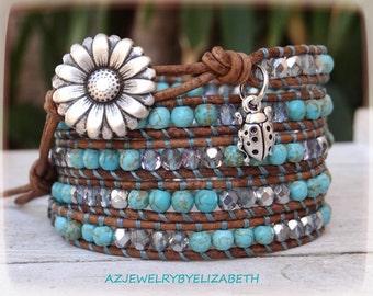 Gorgeous Beaded Turquoise Wrap Bracelet, Leather Turquoise Bracelet, Five Wrap Bracelet.