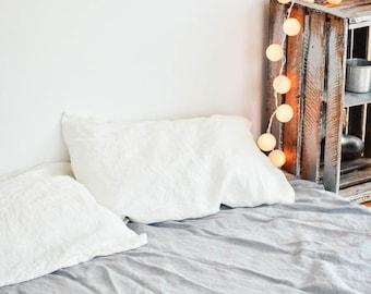 FREE SHIPPING. Set of 2 white linen pillowcase