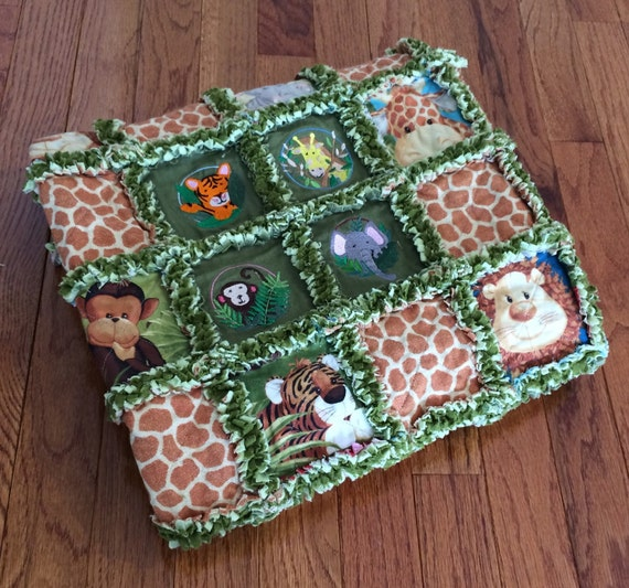 Rag Quilt Animal Patterns : Green Jungle Animal Embroidered Baby Rag Quilt 32 x