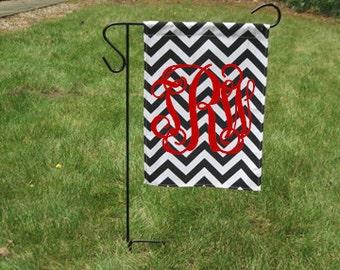 Black Chevron Monogrammed Garden Flag-Customized Garden Flag-Monogrammed Flag-Personalized Flag