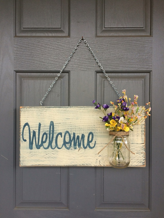 Rustic outdoor welcome sign in blue white wood by redroansigns - Wooden door signs for home ...