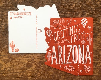 Arizona Postcard, Greetings from Arizona, Die Cut Letterpress State Postcard