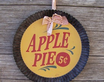 Rustic Metal Pie Plate Apple Pie 5 Cents Wall Décor Country Kitchen