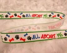 5/8in Dog Pattern GrosGrain Ribbon by the yard, hair bow ribbon, Dog bone print ribbon, paw print ribbon, Dog collar DIY, 1yd