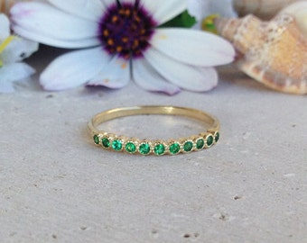 20% off-SALE! Emerald Ring - May Birthstone - Gold Ring - Stack Ring - Dainty Ring - Tiny Ring - Bezel Ring - Simple Jewelry - Eternity Ring
