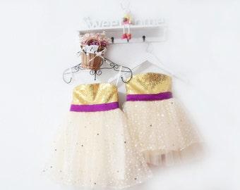 Flower Girl Dress Tutu Gold Sequin Flower Girl Dress Bow in Back Tulle Sparkly Flower Girl Dress Custom Bridal Wedding Flower Girl Dresses