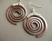 Copper Earrings, Hand Made Jewelry, Copper Dangle Earrings, Swirl Earrings, Rustic Earrings, Mixed Metal Earrings, Spiral Earrings, Silver