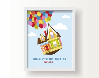 """Up Inspired, Baby or Kid; 8""""x10"""" or 11""""x14""""print, Original Design, Personalize, Baby Shower Gift"""