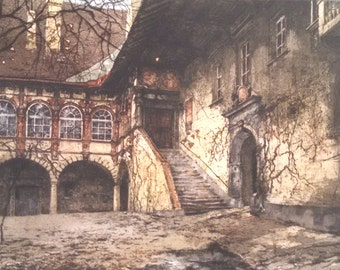 "Luigi Kasimir ""Schallaberg Castle"" Austria; estate signed aquatint etching, framed under glass"