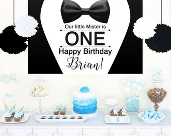 Tuxedo Personalize Backdrop - Baby Shower Cake Table Backdrop Birthday-  Little Mister Backdrop