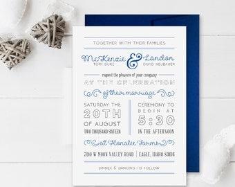 Minimalist Wedding Invitation | Simple Wedding Invitation | Gray and White Wedding | Calligraphy Wedding Invitation | Elegant Wedding