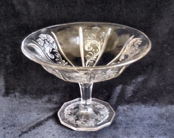 Indiana Pressed Glass Open Compote in the Paneled Heather pattern circa 1890s