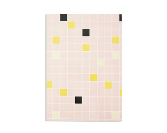 """Illustrated Notebook 100 lined sheets - A5 14.8cmX21cm (5.8""""X8.3"""") Squares pattern Pink, Black, Light Yellow, Orange, Notepads"""