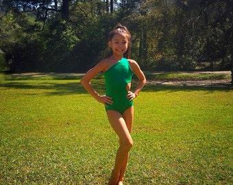 Youth ballet leotard, one shoulder leotard, green leotard, dance convention and/or dance class leotard, custom leotard