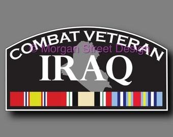 Iraq Combat Veteran Die Cut Vinyl Decal Sticker