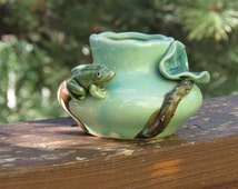 Vintage Drip Glaze Frog and Lily Pad Small Planter or Container; for potting or storage; green and brown