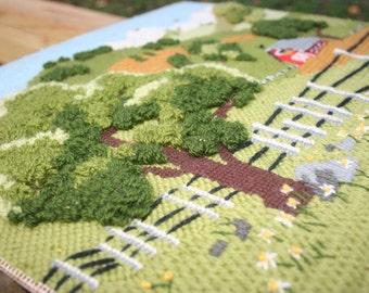 Needlepoint Farm Scene Picture / Textured Needlepoint / Farmhouse Decor /Primitive Farm Scene