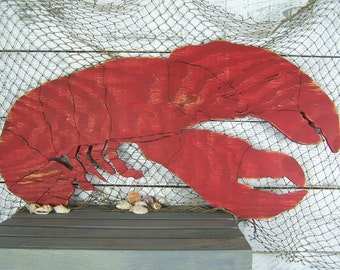 Wooden Lobster Sign Wall Art Beach Home Decor House Coastal