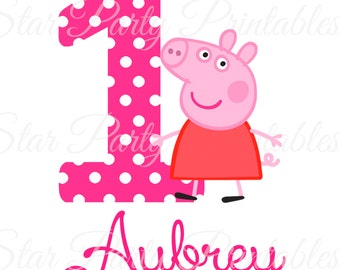 Personalized Pig, Digital Image for T shirt, Pig party, Printable Iron On Transfer, Sticker custom Birthday Shirt image