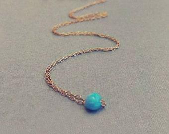 Opal Necklace, Opal Bead Necklace, Blue Opal Necklace, White Opal Necklace, Opal Charm Necklace, Opal Jewelry,Tiny Opal, October Birthstone