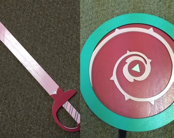 Kids Costume Size Set of Rose Quartz Sword and Shield  w/ optional backpack straps