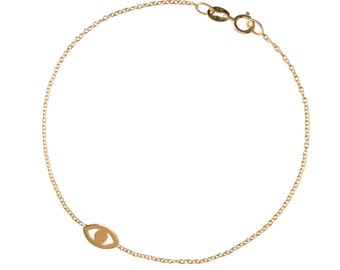 14k gold mini evil eye bracelet