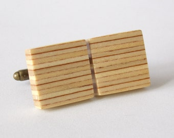 Square Striped Plywood Wooden Cufflinks