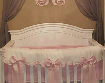 Rail guards with 3 big bows and ruffle bedding set /// Crib bedding, Nursery bedding, Cot bedding