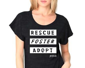FTLA Apparel Old School Tri-Black Dolman Sleeve Tee - Rescue Foster Adopt -XS-2XL