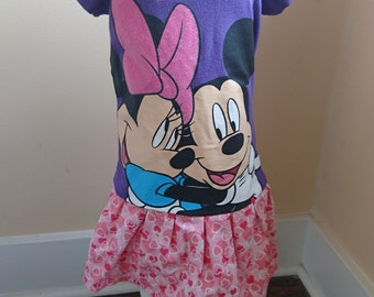 Valentine Dress - Minnie Mouse Dress - Pink Purple Mickey Minnie Mouse Love t-shirt Party Dress Perfect for Valentine's Day - toddler size 4