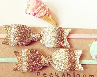 Gold Glitter Bow Headband- Sparkle bow headband- Baby headband- Glitter Hair Bow- Gold Headband-Toddler Headband- Peekabloombaby