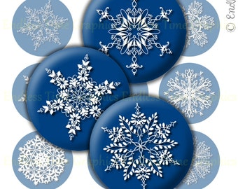 Christmas Digital Bottle Cap Images ~*15 Different Snowflake Designs*~ 1 Inch Digital Collage Sheet ~*1 Inch Printable Circles*~ 153