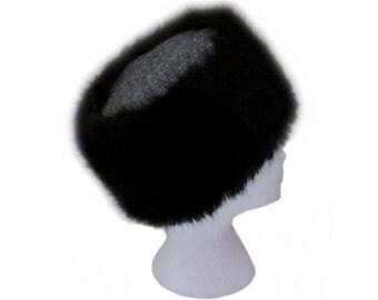 Harris Tweed Size Medium Black & Grey Herringbone Cossack Hat with Luxury Black Faux Fur