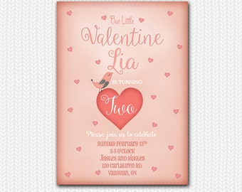 Valentines Day Birthday Invitation / Valentine's Day Party Invitation / Valentine Printable
