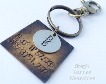 Coordinace/date key chain or necklace in bronze