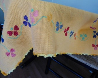 """28"""" x 36"""" Vintage Tablecloth Topper, Orange Cotton, Hand Embroidery & Crochet, Charming!"""