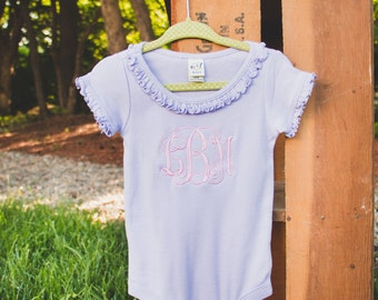 Monogrammed Ruffle Onesie | Monogram Ruffle T-shirt | Baby Monogram Shirt | Girls Monogram Shirt | Large Monogram | Gifts for Baby Girl |