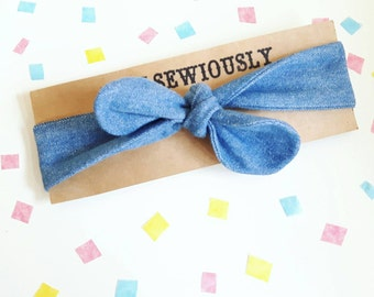 Denim baby headband, blue baby head wrap, Baby bows, baby hair wrap, baby hair band, matching Mom and baby, first birthday gift, baby shower