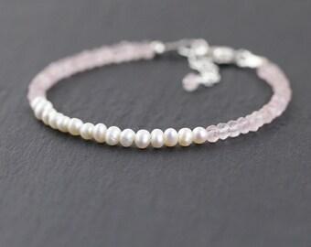 Rose Quartz & Freshwater Pearl Beaded Bracelet in Sterling Silver or Gold Filled. Dainty Pink Gemstone Bracelet. Delicate Stacking Bracelet