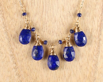 Lapis Lazuli & Gold Filled Bib Necklace. Wire Wrapped Navy Blue Gemstone Necklace. Cobalt Blue Bead Necklace. Statement Jewellery. Jewelry