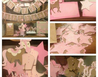 Pink Pony birthday pack, fully assembled, party package, horse birthday package, cowgirl birthday party decorations
