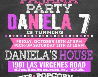 Custom chalkboard pajama party birthday invitation for girls, pj invitations , slumber party celebration pink and purple, printable image